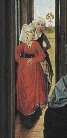 Two tiny figures on an alterpiece from mid-1400's Red Houppeland over black kirtle, the lady behind her seems to have a kirtle with false sleeves. Not fond of the veils.