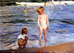 """*Germán y Clara*. bofransson: """" Afternoon Sun, Valencia Beach Joaquin Sorolla y Bastida - 1910 """""""