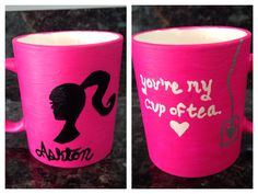 Painted coffee mug for a tea/Barbie lover!