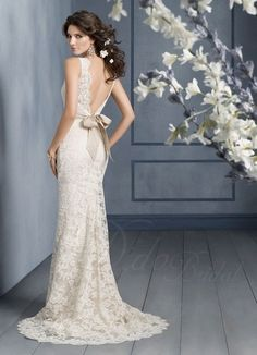 Dipped back lace wedding gown with ribbon sash #backless #lace #weddinggown