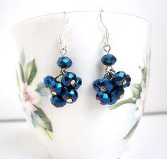 Dark blue AB crystal cluster earrings womens by LaylasTrinkets, $16.00