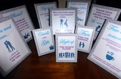 Variety of BlingSparklesOhMy wedding glittered 8x10 and 5x7 frames! Signs designed by one of our brides!