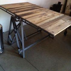 Multipurpose Industrial Steel Reclaimed Wood Bookshelf Dining Table Loft | eBay