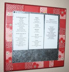 to-do list reminder board, with interchangeable magnetic Flylady zones