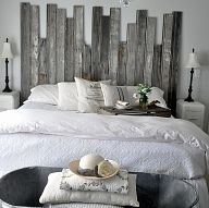 Reclaimed Wooden Headboard We used salvaged tongue-and-groove boards to create a headboard...cut at different heights to...