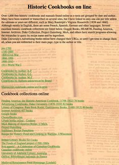 Amazing collection of online historical cookbooks.