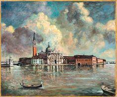 Giorgio de Chirico - Venezia, Isola di San Giorgio, 40's. Oil on canvas, 50 x 60 cm