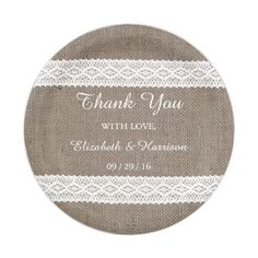 Rustic Burlap u0026 Vintage White Lace Wedding Paper Plate  sc 1 st  Pinterest & The Burlap u0026 Lace Wedding Collection Paper Plate | Burlap lace Lace ...
