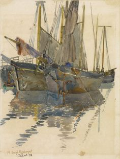 A Study Of Two Schooners by Maurice Prendergast | Art Posters & Prints #yesterdayspaintingstoday