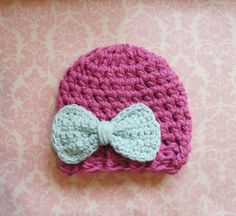 Pink beanie with Robins egg blue bow/ Newborn by LilyAidenDesigns, $19.00