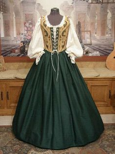 Renaissance WENCH DRESS Maiden Bodice/Corset Costume - I don't get girly very often, but this is *gorgeous*