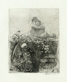 blackpaint20:  Hidden in the shadows of a ditch at left, Death lies in wait for a couple, who embrace in the fields above him on a summer's day; lettered state. 1900 Etching Print made by Albert Besnard