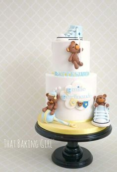 Teddy bear and baby toys cake