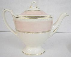 pretty Georgian style pink and cream teapot.