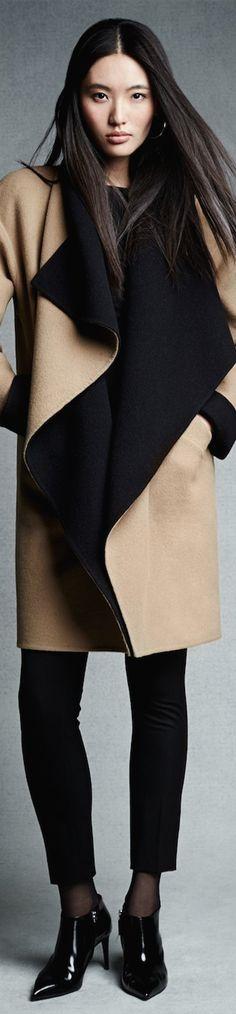Ralph Lauren Black Label Doublefacedwool Malorie Coat in Black Autumn Winter Fashion, Winter Wear, Coats For Women, Clothes For Women, Ralph Lauren Black Label, Beige, Fashion Models, Fashion Trends, Parka