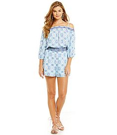 4c9f19273391 Skies Are Blue Cold Shoulder Elastic Waist Romper  Dillards Things To Buy
