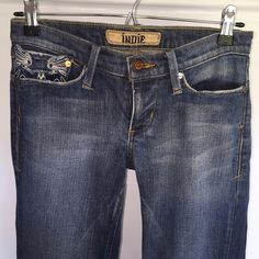 Indie denim jeans. Bootcut size 26 pocket design I love these but am just not into wearing bootcut jeans anymore--I moved back to Hawaii and there's no need for me to have so many pairs here. These are nice and soft with a cute design on the back pocket. Jeans Boot Cut