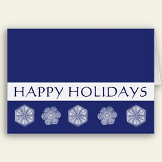 Snowflakes Blue Christmas Happy Holidays Greeting Cards
