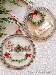 26 Rustic DIY Christmas Ornaments to Create an Ambiance of Warmth - The Trending House Christmas Baubles, Diy Christmas Ornaments, Christmas Projects, Holiday Crafts, Christmas Holidays, Christmas Decorations, Dog Ornaments, Christmas Wreaths, Christmas Gift Tags