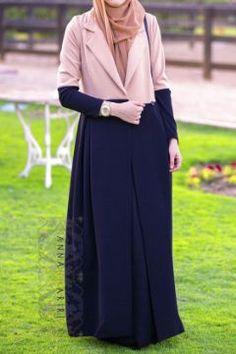 muslim girl clothes hijab clothes wholesale clothing fashionable islamic clothing abaya shops two-tone jacket zara Hijab Fashion 2016, Abaya Fashion, Modest Fashion, Fashion Outfits, Islamic Fashion, Muslim Fashion, Modest Dresses, Modest Outfits, Modele Hijab