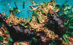 Asian noodles with barbecued duck confit
