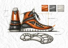 Shoe industrial design marker sketches by  Guillaume Allemon on Behance