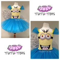 Minion Dispicable Me Inspired Tutu Dress Party Costume Fancy 1 2 3 4 5 6 7 8 yr