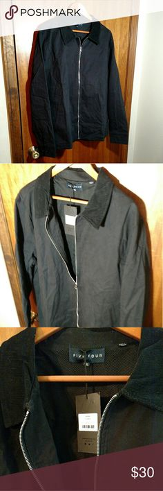 NWT Five Four Club Black Zip Jacket From the men's clothing subscription service, Five Four Club, is this new with tags black zip jacket. The style name is Aston. It's a cotton exterior with a poly lining. The zipper is silver, it has two front pockets, and it has black corduroy at the collar. Great basic piece. Size 2XL. Five Four Jackets & Coats Lightweight & Shirt Jackets