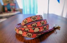 """Pink or Blue Pug star Pattern (2 colors to choose from)  Dog Leash, Dog Lead, 3/4"""" webbing"""