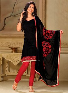 Trendy Black Cotton Churidar Suit