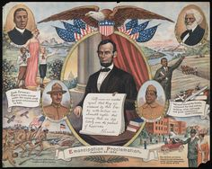 World War I poster: Lincoln and Emancipation Proclamation references; against background vignettes of fighting for freedoms and living in prosperity. In addition to Lincoln, portrait vignettes of black military, political leaders and artists