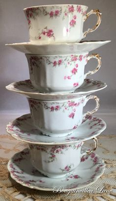 LIMOGES Pink Floral Cups and Saucers Set of 4 by BougainvilleaLane