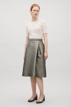COS image 1 of Double-pleat skirt in Khaki Green
