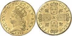 France (Bourbon Kings) AV Louis d'or de Noailles 1718-&  Aix en Provence Mint Louis XV 1715-74