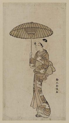 Woman Walking under an Umbrella 傘をさした角隠しの女 Japanese Edo period about 1764–65 (Meiwa 1–2) Artist Suzuki Harunobu (Japanese, 1725–1770)