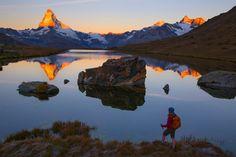 Zonsopgang Stellisee en Matterhorn van Menno Boermans