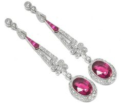 Art Deco Style 18k White Gold 6.60ct Rubelite Diamond & Ruby Earrings