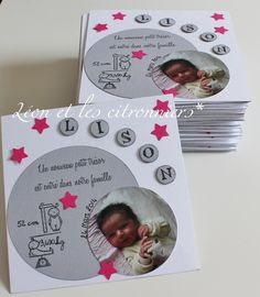 faire-parts de naissance personnalisés - fille - SUR DEMANDE Newborn Birth Announcements, Diy And Crafts, Paper Crafts, New Baby Cards, Shaker Cards, Baby Birth, Baby Scrapbook, Having A Baby, Stamping Up