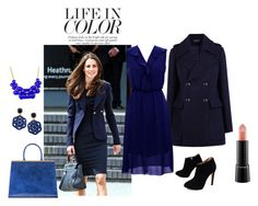 """""""Blue Fall"""" by fashionfan-8 ❤ liked on Polyvore featuring Vintage Collection, Warehouse, Emi Jewellery, Giuseppe Zanotti and MAC Cosmetics"""