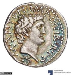 Silver denarius BC) Roman Republik: M. Antonius and C. Iulius Caesar (Octavianus), head of Antonius to r. - MK-B Ancient Egyptian Art, Ancient Aliens, Ancient Rome, Ancient Greece, European History, American History, Iulius Caesar, Museum, Tutankhamun