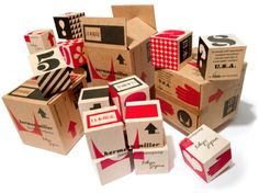 House Industries building blocks based on Eames' Herman Miller packaging