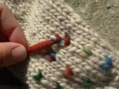 """Afterthought Thrumming"" So much easier than thrumming as you knit."