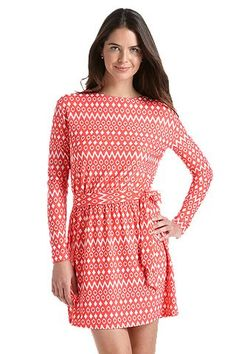 Coastline Cover Up Dress - Coral Geo Ikat: Sun Protective Clothing - Coolibar