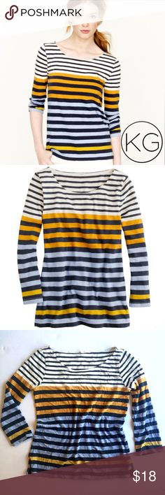 """J. Crew Colorblocked Stripe Tee in Navy & Marigold In good pre-owned condition! •Women's size M •100% Cotton •Cream colored top with dark blue, marigold, and light blue stripes  •17"""" from underarm to underarm, 23"""" from shoulder to hem •Retail $48 🚫no trades nor lowball offers🚫 Thank you for shopping in my closet! J. Crew Tops Tees - Long Sleeve"""