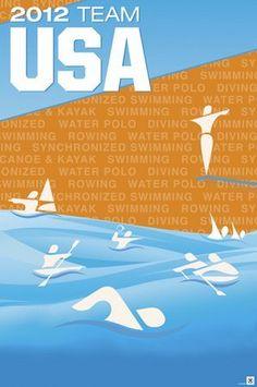 Team USA London Games Aquatics poster