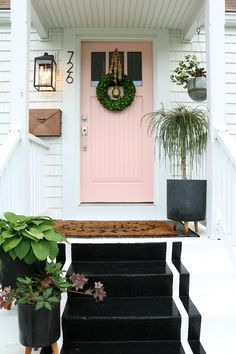 Paint Shutters and Front Door Beautiful Painted Front Door Tips and Our New Pink Door Nesting with Coral Front Doors, Best Front Doors, Front Door Paint Colors, Painted Front Doors, Front Door Decor, Coral Door, Front Door Numbers, Address Numbers, House Paint Exterior