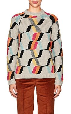 Prada Diamond-Pattern Wool Sweater - Sweaters - 505277160