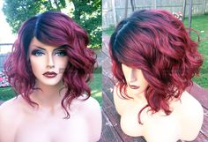Human Hair BLEND Short Bob Wine Red Swiss Lace Front & PART Wavy Wig w/ Dark Root by WantableWigs on Etsy https://www.etsy.com/listing/251403073/human-hair-blend-short-bob-wine-red
