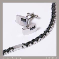 Gemelli e bracciale in acciaio con zirconi neri della collezione #ManClass  Stainless steel cufflink and bracelet with black zircons. #ManClass collection