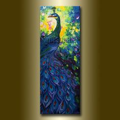 Peacock Oil Painting Textured Palette Knife Contemporary Modern Original Animal Art 15X40 by Willson Lau